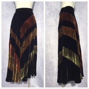 J. Peterman Company Silk Velvet Maxi Skirt S